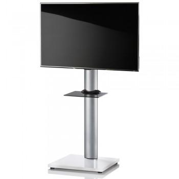 VCM Onu TV Standfuß für Monitore von 32 - 70 Zoll Weißlack / mit Glaszwischenboden