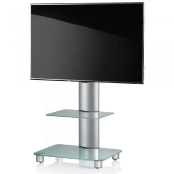 VCM Tosal TV Standfuß für Monitore von 32 - 70 Zoll mit Glaszwischenboden / Silber/Mattglas