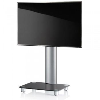 VCM Tosal TV Standfuß für Monitore von 32 - 70 Zoll ohne Glaszwischenboden / Silber/Schwarzglas