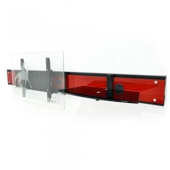 Wandsäule mit Ablage für Plasma LCD Monitore Cadiz Rotglas