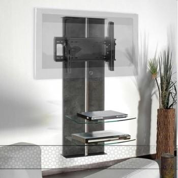 Wandsäule mit Ablagen für Plasma LCD Monitore Premium Hochglanz-Weiss