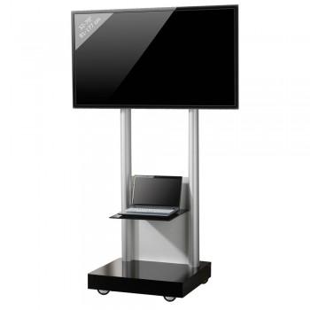 VCM Montevisolo 2 Rollwagen für LCD LED Monitore mit Glasboden Schwarzglas