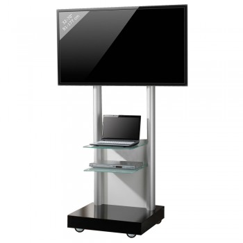 VCM Montevisolo 3 Rollwagen für LCD LED Monitore mit 2 Glasböden Schwarzglas