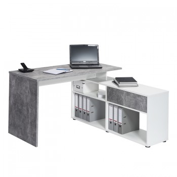 Schreib- und Computertisch 4019 Betonoptik - Weiß