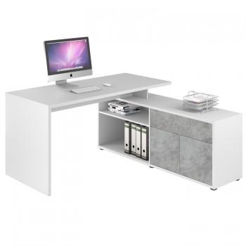 Computer- und Schreibtisch 4020 Icy weiß - Steingrau