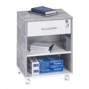 TV Rollcontainer 4025 mit Einlegeböden Betonoptik - Weiß