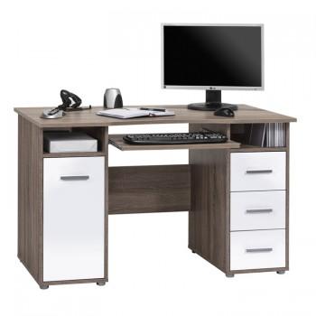 Schreib- und Computertisch 4029 Eiche Trüffel sägerau - weiß Hochglanz