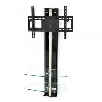 Wandsäule mit Ablagen für Plasma LCD Monitore Oviedo Schwarzglas