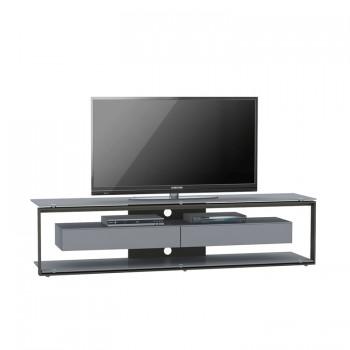 Maja TV-Rack 5206 mit 2 Klappen Metall platingrau - Weißglas