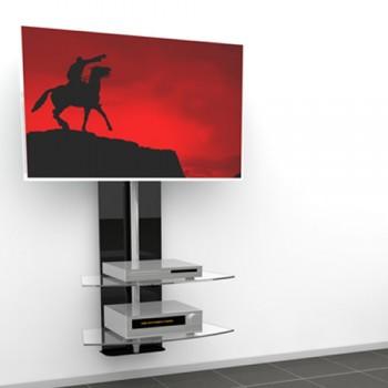 Wandsäule mit Ablagen Cinetron für 32 - 60 Zoll Monitore Schwarz