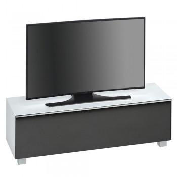 Lowboard SoundConcept mit Akustikstofffront Breite 140 cm Weißglas matt
