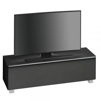 Lowboard SoundConcept mit Akustikstofffront Breite 140 cm Schwarzglas matt