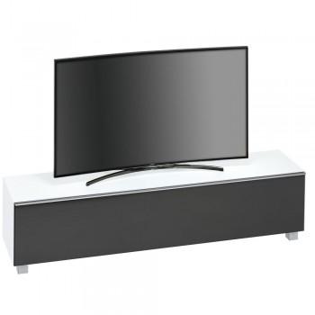 Lowboard SoundConcept mit Akustikstofffront Breite 180 cm Weißglas matt