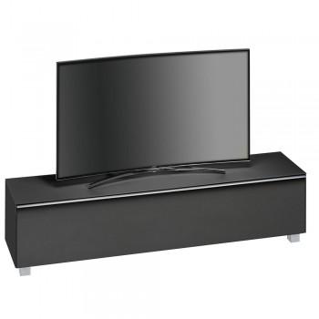 Lowboard SoundConcept mit Akustikstofffront Breite 180 cm Schwarzglas matt