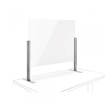Novus Acryl-Glas-Trennwand 75x100 mit Standfuß Silber