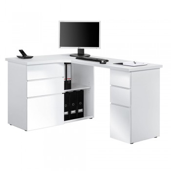 Computer- und Schreibtisch 9543 mit Einlageböden Hochglanz-Weiss