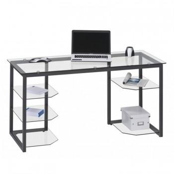 Schreibtisch 9552 mit Glasböden Metall anthrazit - Klarglas