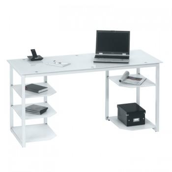 Schreibtisch 9552 mit Glasböden Metall weiß - Weißglas
