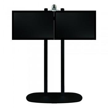 B-Tech Videokonferenz Standfuß BT8520 für 2 x 32 Zoll Boden Schwarz / Rohre Chrom