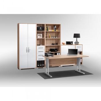 Büro SYSTEM Set 1200 mit Rollschubführung Grau Hochglanz
