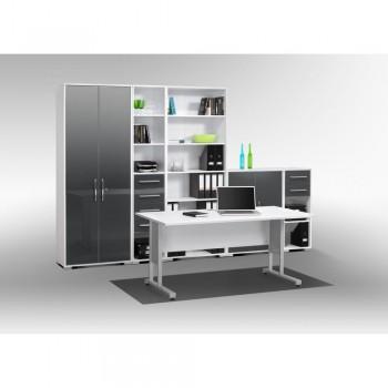 Büro SYSTEM Set 1200 mit Rollschubführung Hochglanz-Weiss