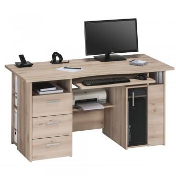 Computer- und Schreibtisch 4052 mit Rauchglas-Holztür Buche