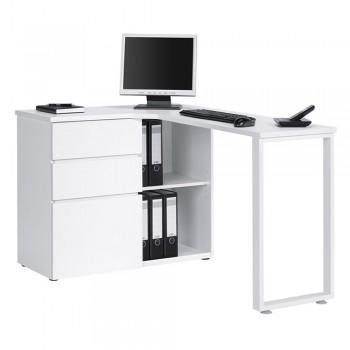 Computer- und Schreibtisch 4057 mit kratzfester Oberfläche Weiß