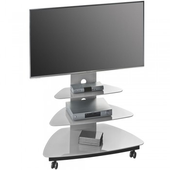 TV Standfuß 1639 für Monitore bis 50 Zoll mit hartbodentauglichen Rollen Platingrau