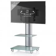 VCM Bilano TV Standfuß für 22-37 Zoll Monitore mit Glaszwischenboden/Silber/Mattglas