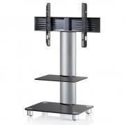 VCM Tosal TV Standfuß für Monitore von 32 - 70 Zoll mit Glaszwischenboden / Silber/Schwarzglas