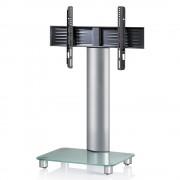 VCM Tosal TV Standfuß für Monitore von 32 - 70 Zoll ohne Glaszwischenboden / Silber/Mattglas