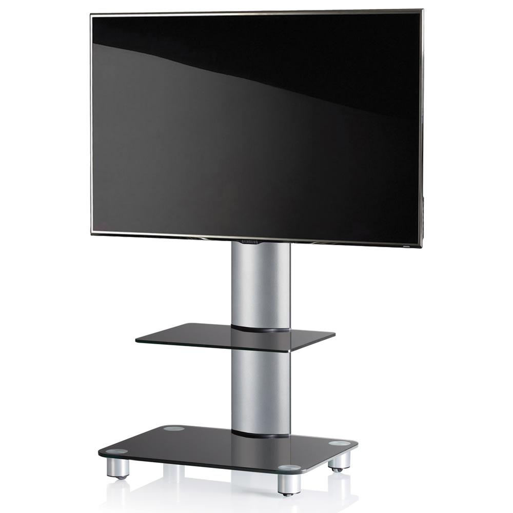 vcm tosal tv standfu f r monitore von 32 70 zoll mit glaszwischenboden silber schwarzglas 17115. Black Bedroom Furniture Sets. Home Design Ideas