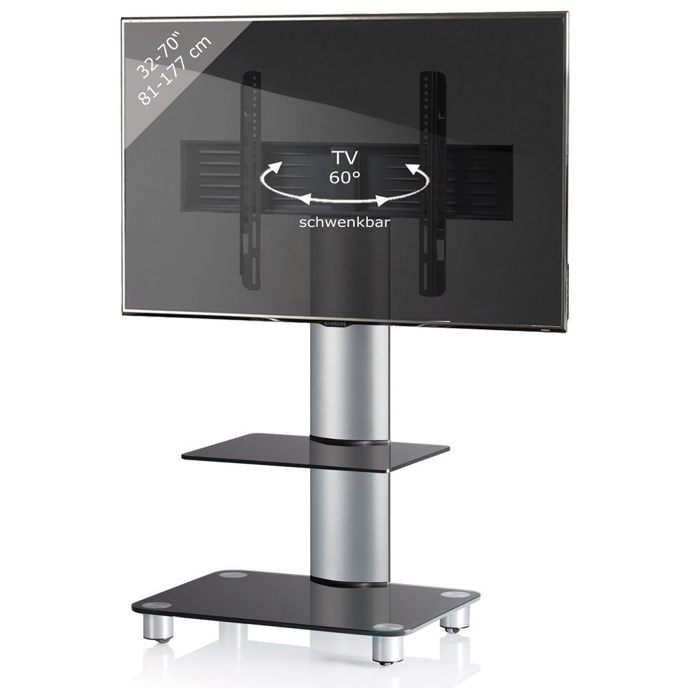 vcm tosal tv standfu f r monitore von 32 70 zoll mit glaszwischenboden silber schwarzglas 17115. Black Bedroom Furniture Sets. Home Design Ideas