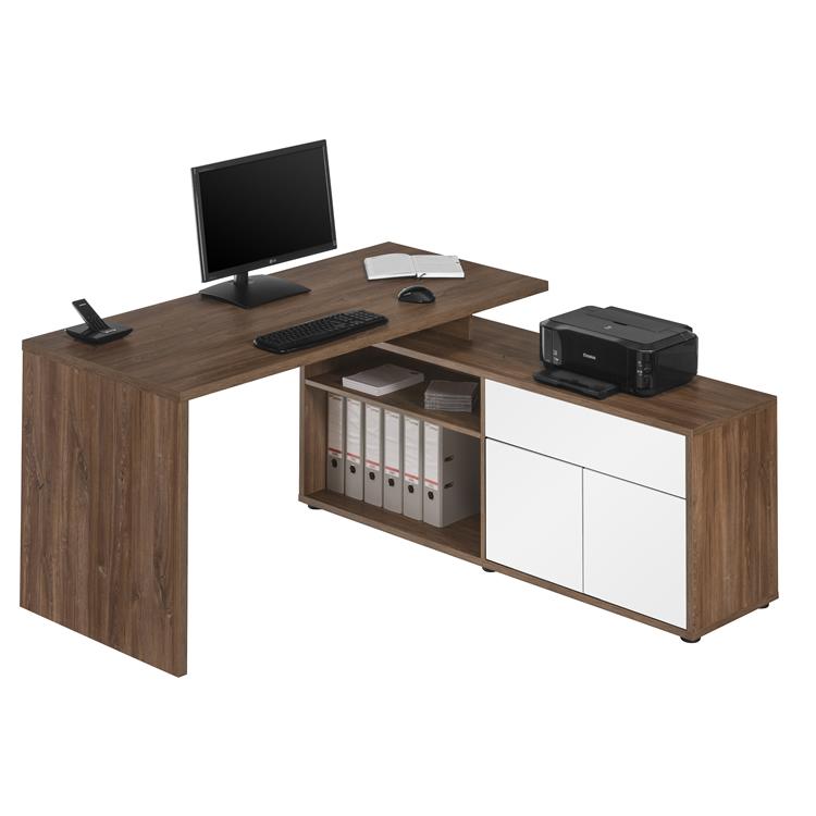 Computer und schreibtisch 4020 eiche dunkel wei for Schreibtisch edelbuche