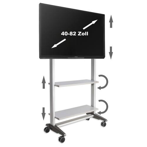tv rollwagen multirack mr1600si f r lcd led monitore mr1600si. Black Bedroom Furniture Sets. Home Design Ideas