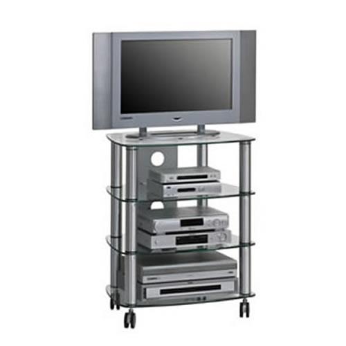 maja 1611 alu tv und hifi rack klarglas 600mm breite 16119499. Black Bedroom Furniture Sets. Home Design Ideas