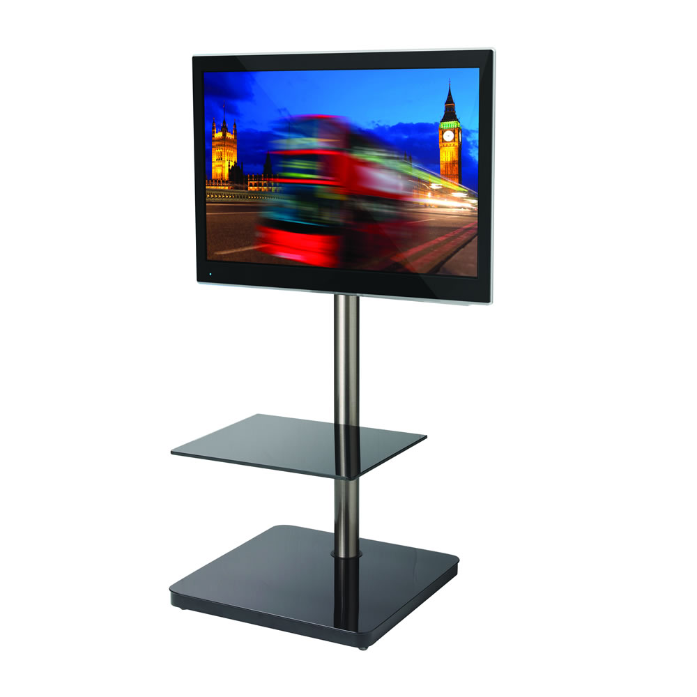 btf800 tv standfu f r monitore bis 60 zoll wei silber. Black Bedroom Furniture Sets. Home Design Ideas