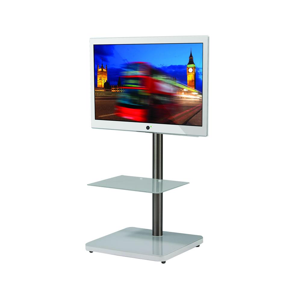 btf800 tv standfu f r monitore bis 60 zoll wei silber btf800 w. Black Bedroom Furniture Sets. Home Design Ideas