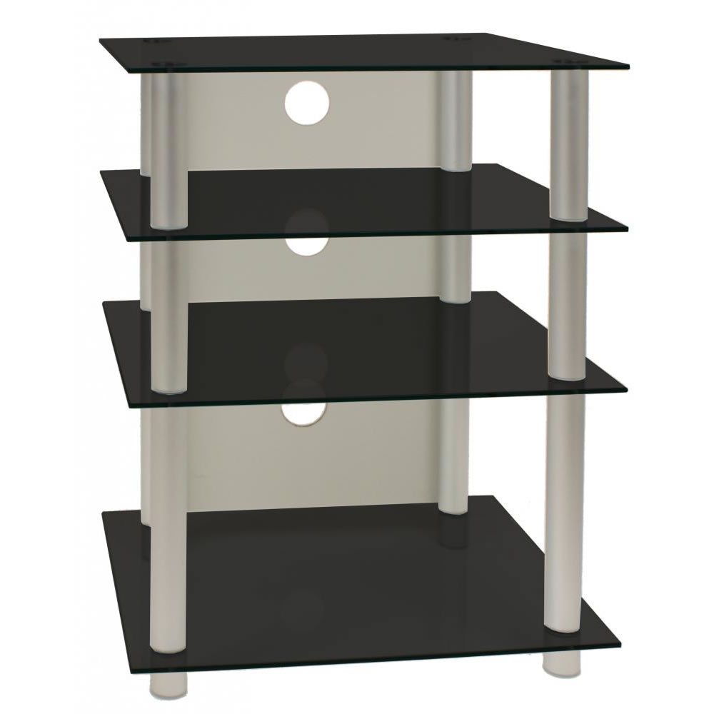vcm tv hifi rack bilus schwarzglas ebay. Black Bedroom Furniture Sets. Home Design Ideas