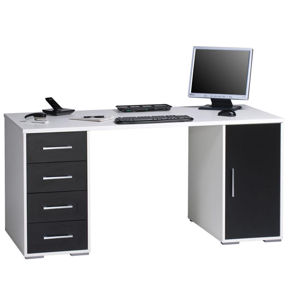 computer schreibtisch 1668 mit kratzf melaminharzbesch sw ws ebay. Black Bedroom Furniture Sets. Home Design Ideas