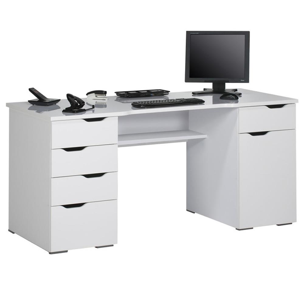computer und schreibtisch 9539 mit integrierten schubladen hochglanz weiss ebay. Black Bedroom Furniture Sets. Home Design Ideas