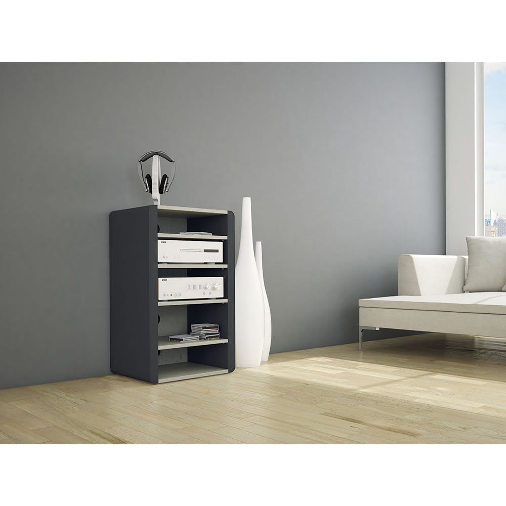 schnepel tv hifi rack elf h beton optik hochglanz schwarz elf h bohs. Black Bedroom Furniture Sets. Home Design Ideas