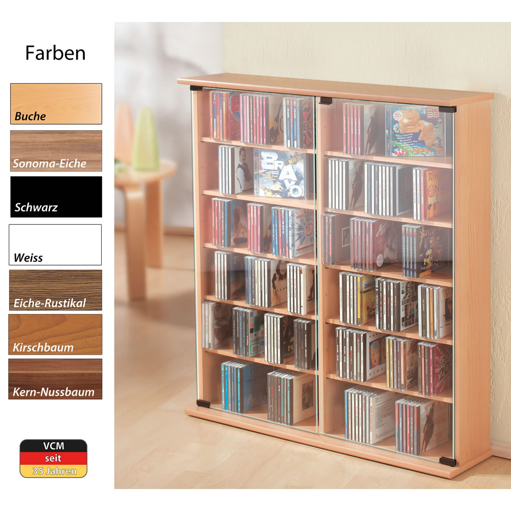 cd dvd schrank vcm roma roma. Black Bedroom Furniture Sets. Home Design Ideas