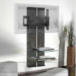 Wandsäule mit Ablagen für Plasma LCD Monitore Premium Hochglanz-Schwarz