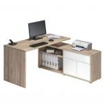 Computer- und Schreibtisch 4020 Edelbuche - Weiß Hochglanz