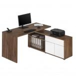 Computer- und Schreibtisch 4020 Eiche dunkel - Weiß Hochglanz