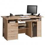 Computer- und Schreibtisch 4052 mit Rauchglas-Holztür Sonoma-Eiche