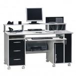 Computer- und Schreibtisch 9475 mit CD Leiste Schwarz/Weiß
